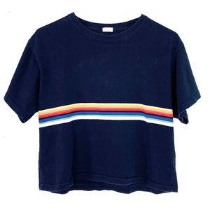 John Galt Rainbow Stripe Crop Top Tshirt Small